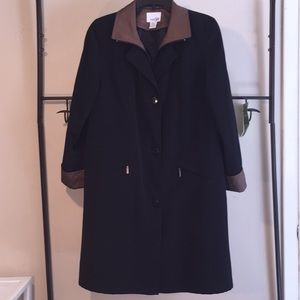 East 5th black trench coat with brown trim size S